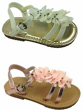 Girls Infant Chatterbox Flat Flower Gladiator Buckle Summer Party Sandal Shoe