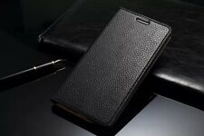 Genuine Cow Leather Flip Stand Case Cover For Samsung Galaxy Note 4 NEW