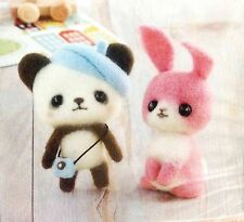 Hamanaka - Japanese Wool Needle Craft Felting KIT - Panda & Pink rabbit bunny