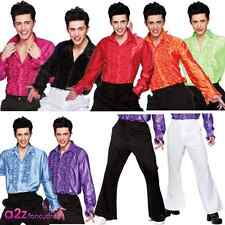 MENS 1970'S DISCO SHIRT FLARES SATURDAY NIGHT FEVER 70'S FANCY DRESS COSTUME