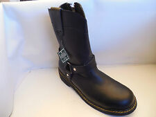 Mens AUTHENTIC Leather Steel Toe Motorcycle Boots,  Zip Up Closure.
