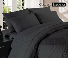 USA Complete Bedding Set- 1000TC Dark Grey (Solid &Striped) 100% Egyptian Cotton