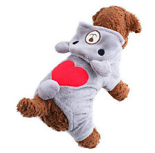 Sweet Soft Fleece Pet Dog Clothes Teddy Bear Jumpsuit Costume Winter Warm Hoodie