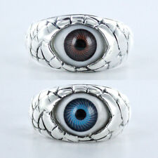 Size 6~10- MONSTER EVIL EYE Sterling Silver Ring-Highly Polished-Oxidized