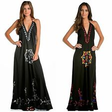 ELAN SUMMER FLOWY MAXI HALTER TIE DRESS BOHO EMBROIDERED BLACK MULTI S M L $129