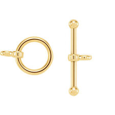 14K Solid Yellow Gold Toggle Clasp Set Bar or Ring 1.5mm Wire Bracelet Findings