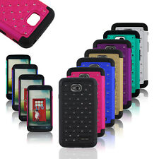 Rugged Dual Layer Hybrid Diamond Hard Cover Case For LG Optimus L70 D325 MS323