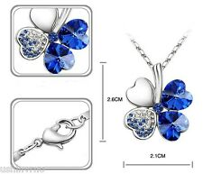 "Crystal Birthstone Hearts 18"" Silver Necklace & Earring sets"
