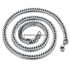"22"" Fashion Flat Shape Mens Boys Stainless Steel Chain Link Necklace"