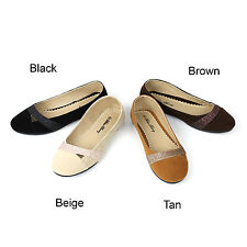 New Womens Cute Sparkle Suede Ballet Flat Comfy Slip On Loafers Ballerina Shoes