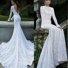 2015 Sheath Lace Mermaid Long Sleeve Sexy Backless Wedding Dress Bridal Gown NEW