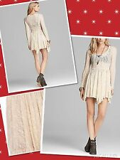 Free People  Size S, M Star Lace Witchy Slip high Low hem Dress in Tea