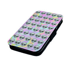 Funny Emoji Alien Design Printed Faux Leather Flip Phone Case Inspired Style