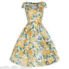 PRETTY KITTY LEMON YELLOW FLORAL BLOOM PROM ROCKABILLY COCKTAIL SWING DRESS 8-18