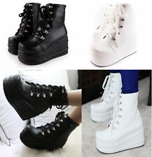 Punk Women's Boots High Platform Flat Lace up Gothic Slouch Combat Boots All US