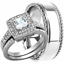 3 PCS HIS and HERS STAINLESS STEEL Wedding ANNIVERSARY bridal MATCHING RING SET