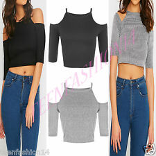 New Womens Ladies Off Shoulder Stretch Ribbed Cut Out Crop Vest Strappy Top 8/14