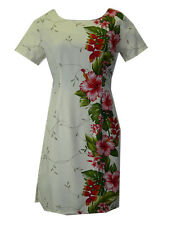 Hawaiian Short Sleeve Rayon Cream Red Hibiscus Flower Ladies Tank Dress-S-2XL