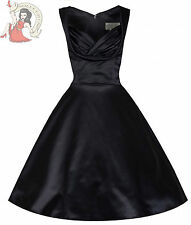 LINDY BOP 50's style OPHELIA SATIN cocktail DRESS BLACK