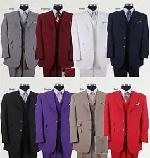 Men's Three Button Poly Poplin Solid Suit With Collared Vest 905V