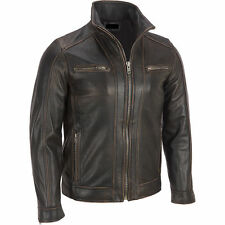 Men's Black Rivet Leather Faded-Seam Jacket Genuine Leather - ALL SIZES