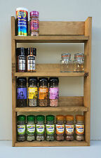 SPICE RACK 4 TIERS RECLAIMED WOOD RUSTIC KITCHEN STORAGE WALL MOUNT DEEP SHELVES