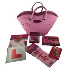 HEN NIGHT PARTY BAG BRIDE TO BE SASH DARE CARDS VEIL L PLATE DARE DICE HANDCUFFS