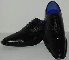 Roberto Chillini Status 6543 Mens Glossy Black Elegance Oxfords Dress Shoes