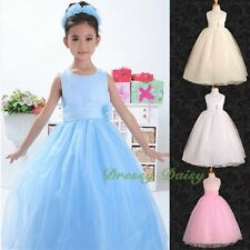 Satin Tulle Formal Occasion Dress Communion Wedding Flower Girl Party Sz 1-8 059