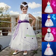 White Scoop Formal Flower Girl Dress Wedding Communion Party Size 2-10 FG220A