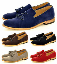 Mens Leather Lined Slip On Suede Loafers Driving Shoes Tassle Design UK Siz 5-11