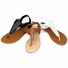 NEW Womens T-Strap Thong Gladiator Strappy Sparkle Jewel Flat Flip Flop Sandals