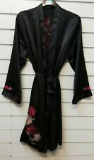 LADIES QUALITY EX STORE BLACK SATIN DRESSING GOWN/ROBE UK SIZE 8-24