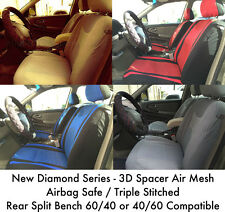 New Deluxe 3D Spacer Air Mesh Front Airbag Safe Rear Split Bench Seat Covers 5S