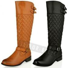 WOMENS LADIES FLAT KNEE HIGH QUILTED RIDING BLACK TAN CALF WINTER BOOTS SIZE &#9