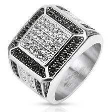 Mens Clear w/ Black CZ Border Micro Paved Cast Ring Stainless Steel Size 9-13