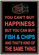 You Can't Buy Happiness You Can Buy Fish & Chips METAL SIGN PLAQUE fun chip shop