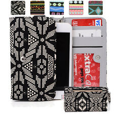 KroO ESPS-18 MD Aztec Patterned Protective Wallet Case Cover for Smart-Phones