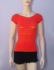New Bebe Womens Orange T-Shirt Cap Sleeves Mesh Pattern Top Sz P/S-M/L