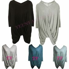 New Womens Crossover Drape Lagenlook Layering Baggy Batwing Top Ladies Dress
