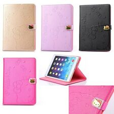 Cute Hello Kitty Head Leather Stand Case Cover For iPad 2/3/4 Air 1/2 Mini 123