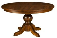 Amish Round Pedestal Dining Table Rustic Solid Wood Traditional Furniture New