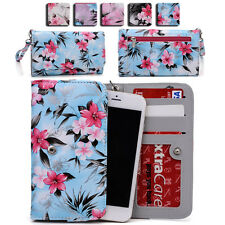 Womens Flower Pattern Wallet Case Cover for Smart Cell Phones by KroO ESMLF-15