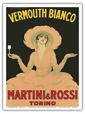 Vermouth Bianco Martini&Rossi Torino Vintage Advertising Art Poster Print