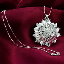 WS Nice 925 Sterling Silver Big Sunflower Ball Pendant Chain Necklace