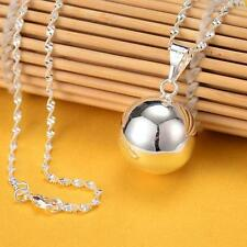 WS New 925 Sterling Silver Angel Sound Ball Bell Wave Chain Pendant Necklace