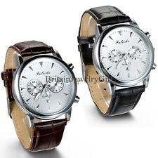 Classic Fashion Luxury Leather Strap Analog Quartz Mens Date Wrist Watch