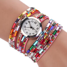 Stylish Steel Wire Crystal Beaded Women Multilayer Analog Wrist Watch