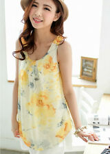 Yellow flowery Chiffon drape  Nursing/Breastfeeding Dress Top M,L,XL