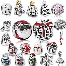 New 925 Silver Charm Merry Christmas Holiday Bead Fit Diy 3mm European Bracelet